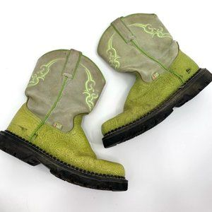 JUSTIN Boots Western Green Leather Suede Square8.5